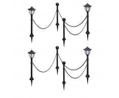 vidaXL Lámparas solares 4 uds con valla de cadena y postes
