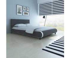 vidaXL Cama con colchón viscoelástico cuero artificial 140x200 gris