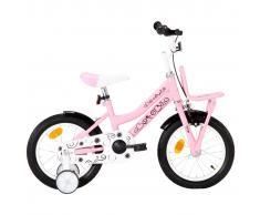 """vidaXL Bicicleta niños con portaequipajes delantero 14"""" blanco y rosa"""