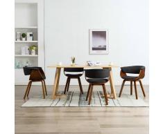 vidaXL Sillas de comedor 4 unidades de madera curvada y tela gris