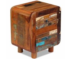 vidaXL Mesita de noche madera maciza reciclada 43x33x51 cm