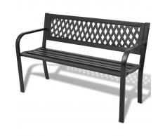 vidaXL Banco de jardín 118 cm acero negro