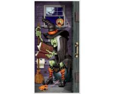 Decoración de puerta bruja en el baño Halloween Única