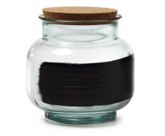 Kave Home Tarro Olsen, 18 Cm, En Cristal - Negro,Neutro