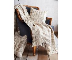 Venca Manta para sofá rústica en tejido tramado con flecos natural
