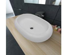 vidaXL Lavabo lujoso de cerámica ovalado blanco 63 x 42 cm