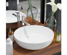 vidaXL Lavabo redondo de cerámica 41,5x13,5 cm blanco