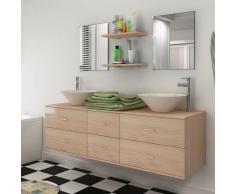 vidaXL set mobiliario de baño con lavabo 7 uds beige (242564+242571)