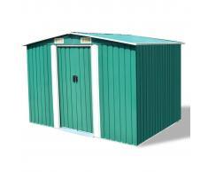 vidaXL Caseta de jardín metal 257x205x178 cm verde