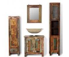 vidaXL Mueble de baño madera reciclada con espejo y dos armarios laterales