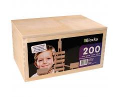 BBlocks Tablones de construcción 200 piezas madera marrón BBLO890200