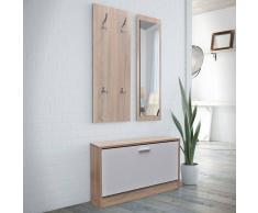 vidaXL Set 3 en 1 zapatero de madera color roble y blanco