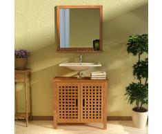 vidaXL Mueble de lavabo con espejo madera maciza nogal