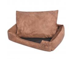 vidaXL Cama para perro con cojín PU cuero artificial talla XL beige