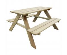 vidaXL Mesa de picnic para niños 89 x 89,6 50,8 cm madera pino