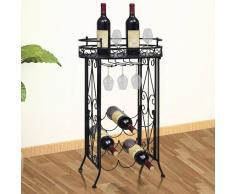 vidaXL Botellero de metal con capacidad 9 botellas y ganchos