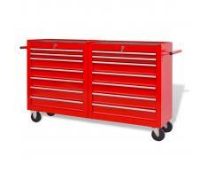 vidaXL Carrito-caja de herramientas 14 cajones tamaño XXL acero rojo