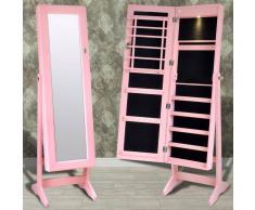 vidaXL Espejo joyero rosa de pie con luz LED