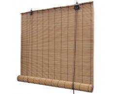 vidaXL Persiana / Estor enrollable marrón de bambú 120 x 220 cm