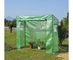 Outsunny Invernadero tipo Caseta de Jardín para Cultivo de Plantas Semillas o Tomates con 2 Ventanas - Verde - Acero - 200x77x169 cm
