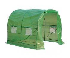 Outsunny Invernadero Caseta Verde Transparente Acero Polietileno PE 250 x 200 x 200cm