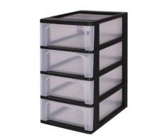 Escritorio cajón, cajones sin ruedas cajones de plástico con cuatro cajones, contenedores Negro, Cómoda 4 cajones, Armedietto sin ruedas, armario de plástico, almacenaje del cajón - OCH-2004