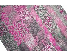 Alfombra oriental alfombra de la sala alfombras mosaico de la vendimia kelem multicolor rosa púrpura gris Größe 80x150 cm