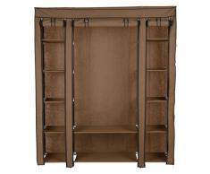 Levivo - Armario portátil (múltiples compartimentos y 3 puertas enrollables, 174 x 147 x 44 cm aprox.), marrón claro