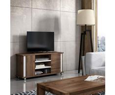 Mueble para TV, con 3 estantes + 2 Puertas y Ruedas, Mueble de televisión, Muebles de salón ref-23