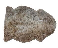 Alfombra piel de cordero CAPUCHINO natural sin teñir castaño claro marrón beis beige para decoración largo 80 / 90 cm