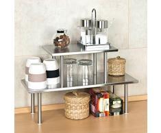 bremermann® estantería de cocina, estantería universal, estante para especias, acero inoxidable