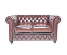 Auténtic Chesterfield Brand -Sofá Chester Brighton Marrón Gastado- 2 plazas -Hecho artesanal en cuero natural