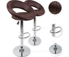 kesser® 2 x Taburete bar silla silla de piel sintética 8 colores acolchada, marrón
