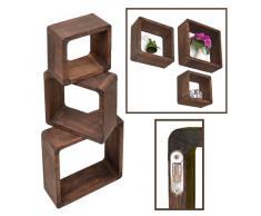 Juego de 3 cubos para la Sala, estilo antiguo, Estantería para pared y fijarla en la pared, en madera maciza, marrón oscuro