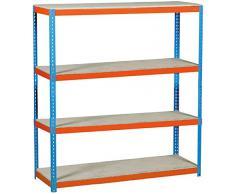 Estantería Metálica Simonforte 1509-4 Chipboard, azul/naranja, 2000x1500x900, 4 estantes, Simonrack