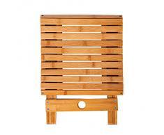 MyLifeUNIT - Taburete plegable, bambú, 30 cm de altura, capacidad de 200 kg de peso