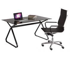 NAKURA - Mesa escritorio FABIANA de135x80 cm. tapa de cristal y patas de metal