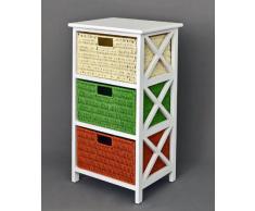 Cómoda Mesa auxiliar de 72 cm de alto, Estantería para baño, pasillo, cocina, niños, en blanco con tres cestas en ratán
