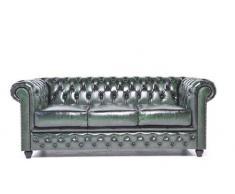 The Chesterfield Brand -Sofá Chester Brighton Verde Gastado - 3 plazas - Hecho artesanal en cuero natural