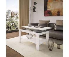 HOGAR24 - Mesa de centro elevable Roma blanca con cristales contrastados en negro