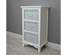 Cómoda de cajones y armario de colour azul y blanco antiguo y nuevo diseño de colour de madera con diseño de estilo rústico