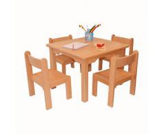 Muebles Para Niños de Madera de La Haya Sólida Natural Barnizada, Conjunto de Cinco Piezas, Una Mesa y Cuatro Sillas Sin Apoyabrazos Para Los Niños