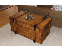mesa de centro auxiliar madera bal vintage shabby chic landhaus madera maciza color nogal