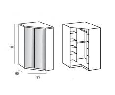 Armario de esquina Cooper blanca Espejos 2 puertas correderas