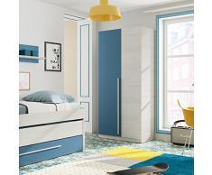 Habitdesign 0A7437Y - Armario Juvenil 2 Puertas, Color Blanco Alpes y Azul, Medidas: 200 cm (Alto) x 90 cm (Ancho) x 52 cm (Fondo)