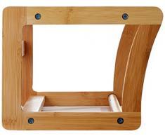 Relaxdays 10014070 bambú estante de la pared con la barra de toalla de 60 cm