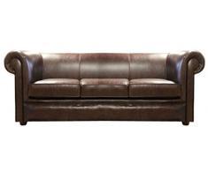 Casa Padrino sofá 3 plazas de cuero genuino marrón oscuro 200 x 90 x H. 80 cm - Muebles de Salón de Lujo