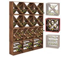 Sistema botellero CUBE 50 módulo 3, pino tabaco, máx. 20 botellas, apilable / ampliable - alt. 50 x anch. 50 x pr. 25 cm
