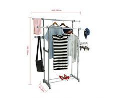 logei® Dobles ropa colgadores de ropa bastidor extensible perchero enrollables estante perchero armario telescópica plegable ruedas Secador de stands, gris