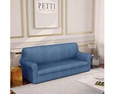 PETTI Artigiani Italiani - Fundas Sofa, Fundas de Sofa, Funda Sofa 3 Plazas, Azul, Fundas Sofa Elasticas, Tejido Jacquard, 100% Made in Italy